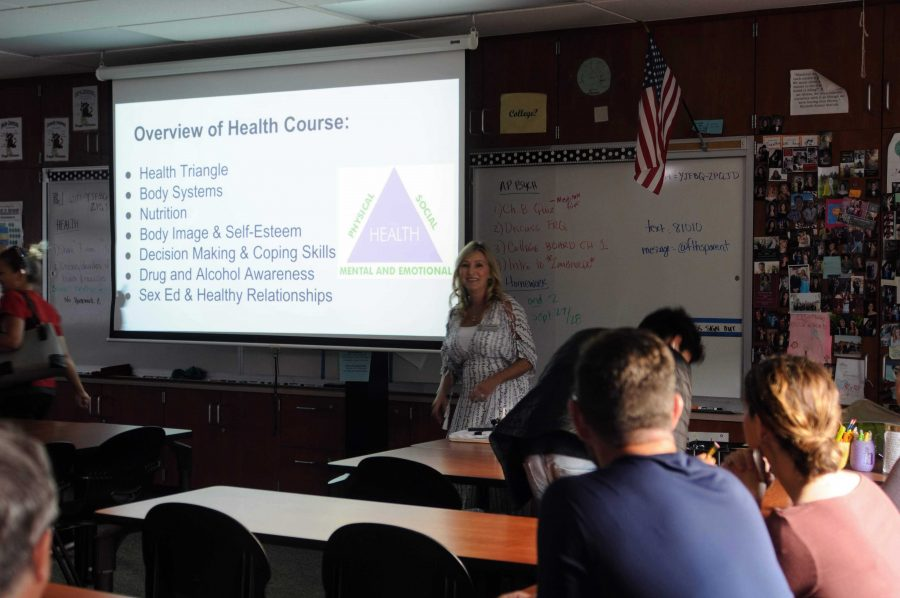 Health+and+psychology+teacher+Heather+Ferris+explains+what+her+health+class+has+planned+for+the+upcoming+year+to+the+parents.+Credit%3A+Muriel+Rowley+%2F+The+Foothill+Dragon+Press