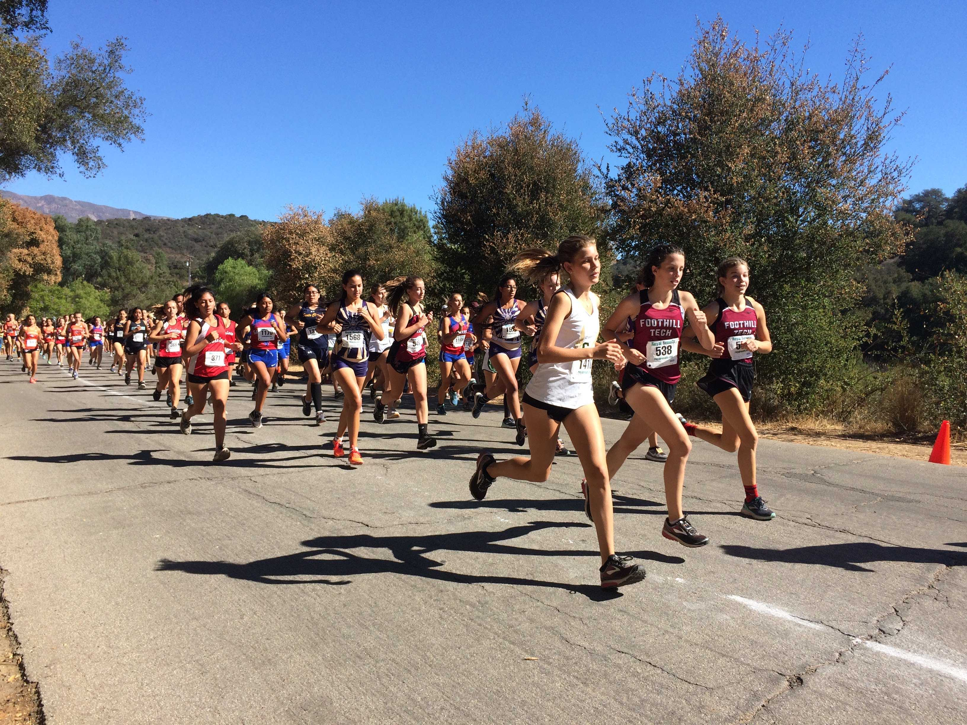 The beginning of a crowded girls' 1.9 mile race. Credit: Dylan Mullaney / The Foothill Dragon Press