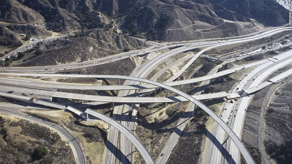 Collapsed highway ramps after the Northridge Earthquake. Credit: Douglas C. Pizacsap