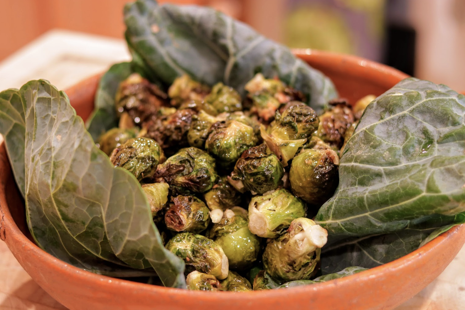 The finished dish of simple yet delicious, Brussels sprouts. Credit: Olivia Sanford / The Foothill Dragon Press