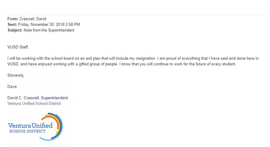 Superintendent David Creswell's email circulates through the staff of Ventura Unified.