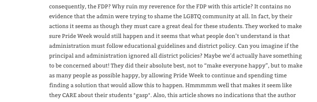 "Comment reads ""Why ruin my reverence for the FDP with this article? It contains no evidence that the admin were trying to shame the LGBTQ community at all. In fact, by their actions it seems as though they must care a great deal for these students."""