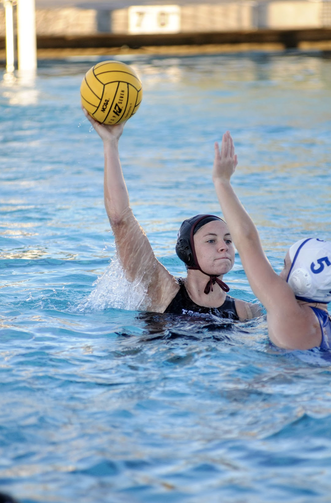 Annika Arroyo '20 about to pass the ball. Credit: Muriel Rowley / The Foothill Dragon Press