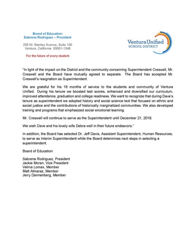 A message from The Board of Education about the future of Ventura Unified's Superintendent position.
