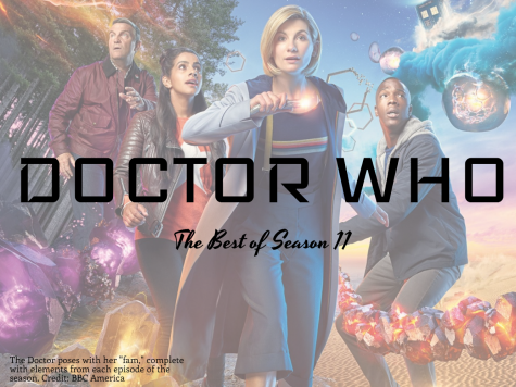 "The Doctor poses with her ""fam,"" complete with elements from each episode of the season. Credit: BBC America"