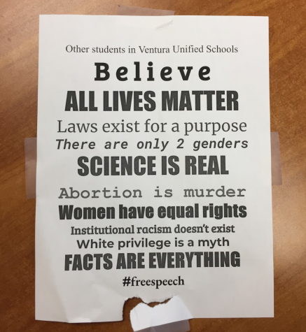Poster presenting some students' perception of LGBTQ+, race, women's rights, more displayed on campus