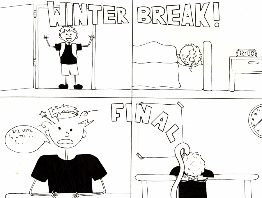 Cartoonist Jordyn Savard believes that within a matter of weeks the fun and excitement of winter break vanish and the stress and anxiety of school return, especially as finals are right around the corner.