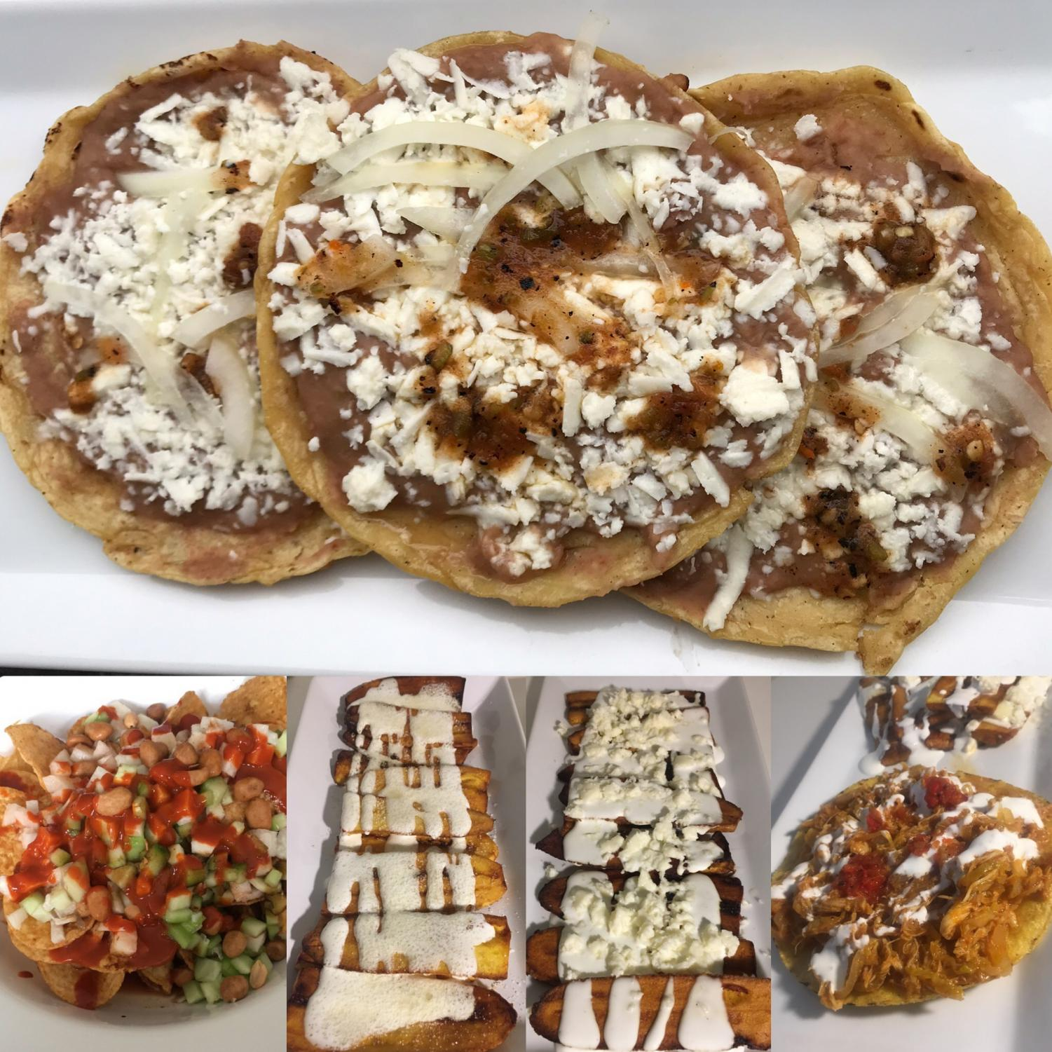 Tinga de pollo, sopes, mole, tostilocos and plátanos fritos.