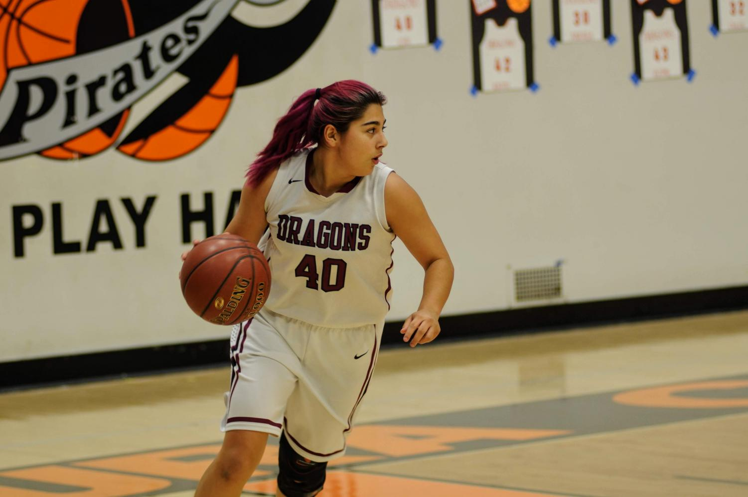 Cydnie Gutierrez '19 dribbles the ball.