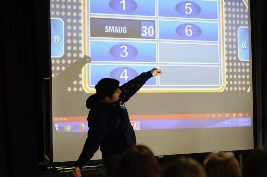 Nick Hannigan '19 shows his excitement as he wins a points during a game of Family Feud.