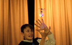 Winner Toby Pflaumer '21 with his 'bad' magic tricks.