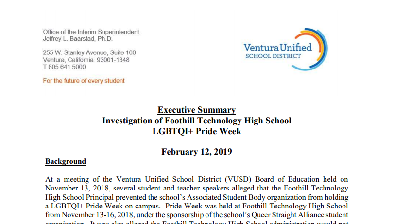 The Executive Summary Investigation of Foothill Technology High School/LGBTQI+ Pride Week is a public document.