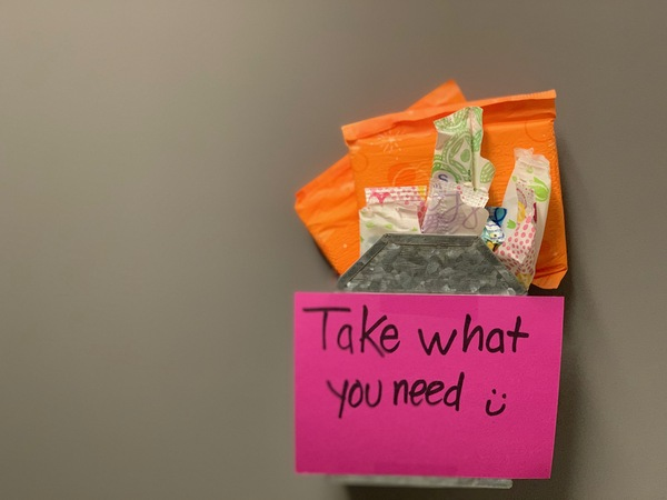 ASB provides feminine hygiene products in womens restrooms around the school.