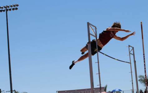 Nicholas Jordan '20 clears the cross-bar during boys' varsity pole vault.