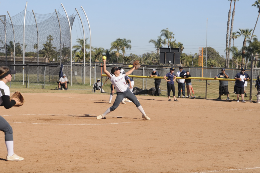 Kat Tafoya '19 pitches a fast pace ball resulting in a strike.