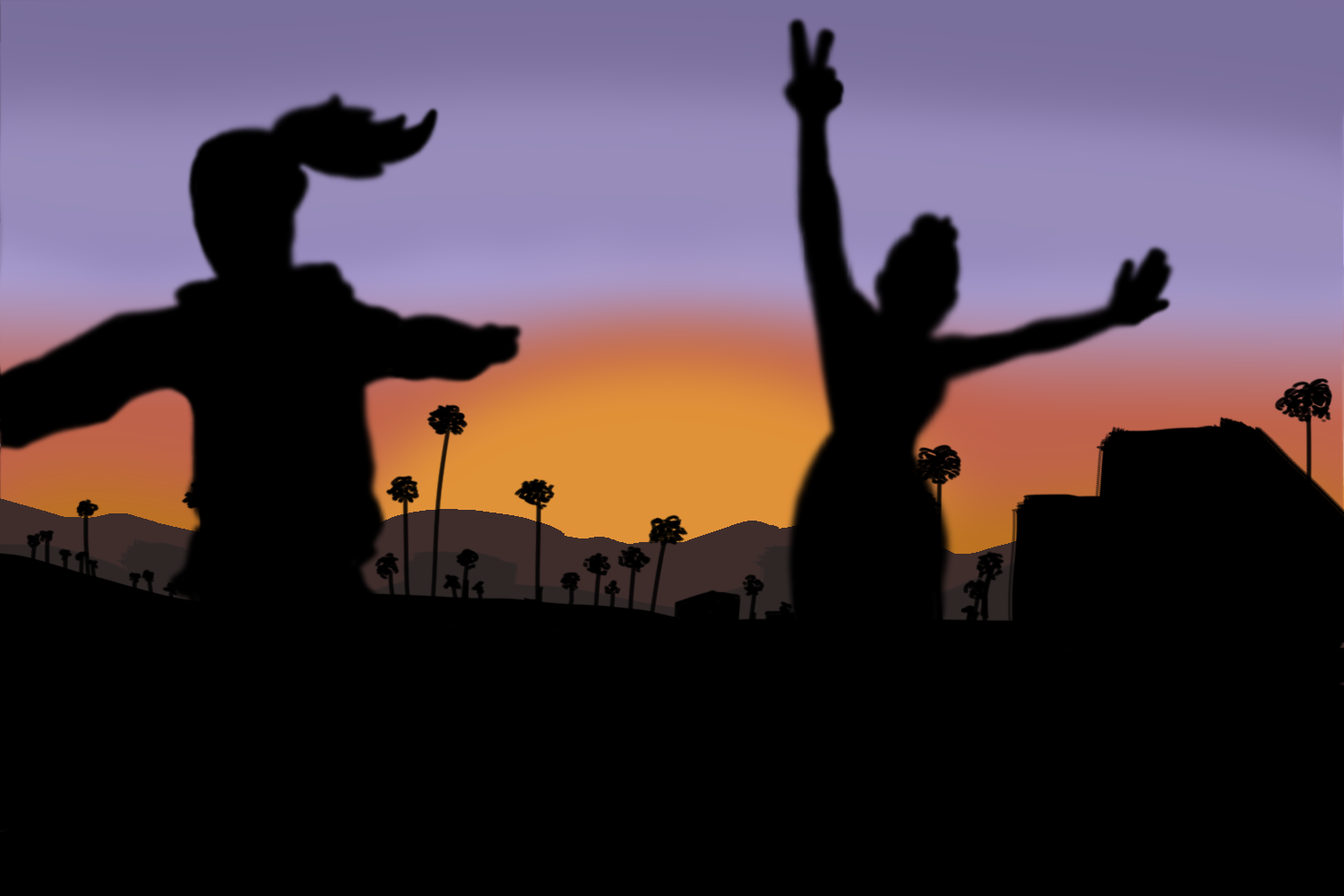 Cartoonist Lillian Li depicts the scenery as well as the fun enjoyed by the Class of 2020 at this year's Senior Sunrise.