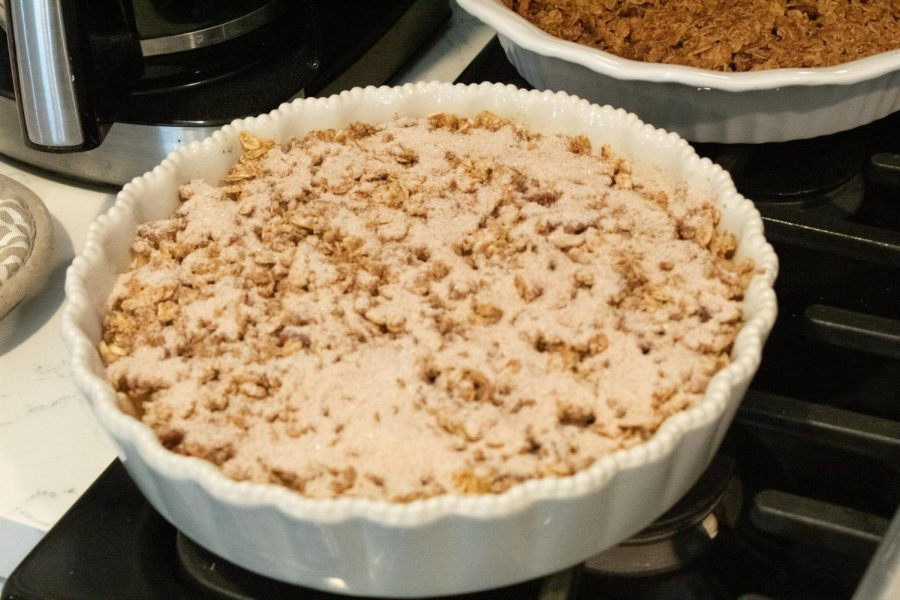 Optional: Mix ¼ cup of sugar and one tablespoon of pumpkin spice and put on top of crisp until covered