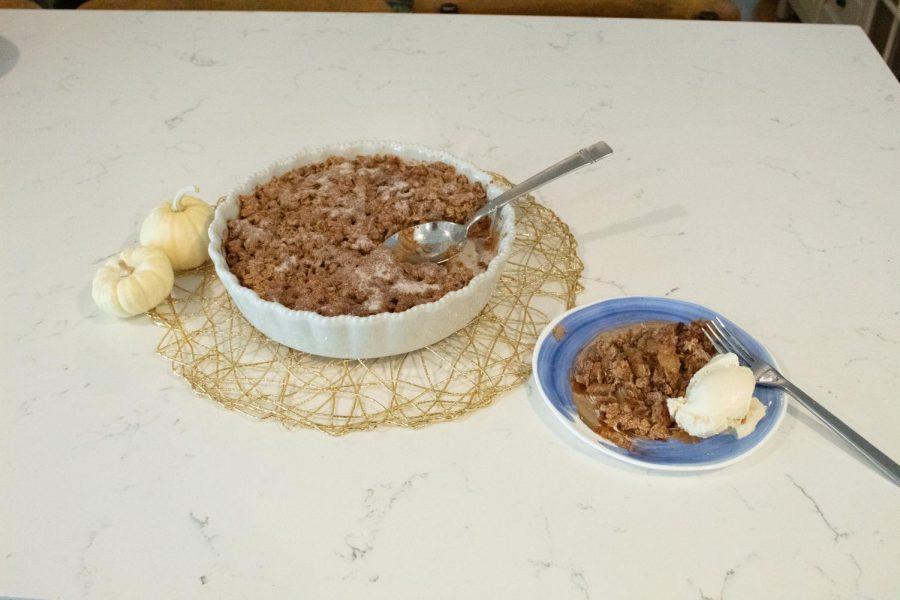 Serve warm crisp with vanilla icecream!
