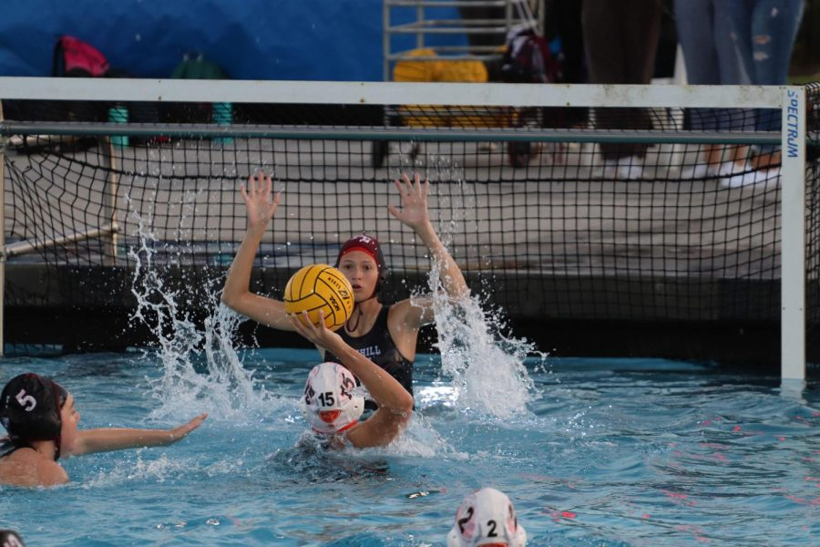 Foothill+goalie+reaches+up+to+block+a+close+range+shot+made+by+Santa+Ynez