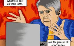 "Cartoon 51: ""Waiting for grades"""