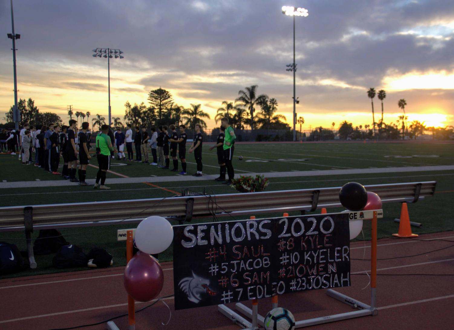 The Foothill boy's soccer team lines up to celebrate their seniors.