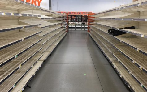 Grocery store shelves in Ventura are emptied by shoppers due to COVID-19 panic.