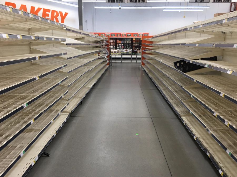 Grocery+store+shelves+in+Ventura+are+emptied+by+shoppers+due+to+COVID-19+panic.