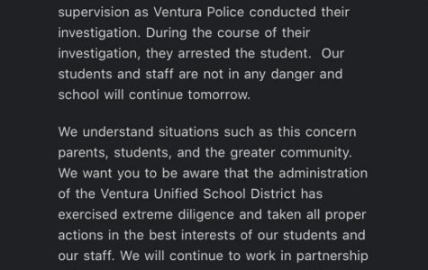 Email sent to parents and guardians regarding threat made by student.
