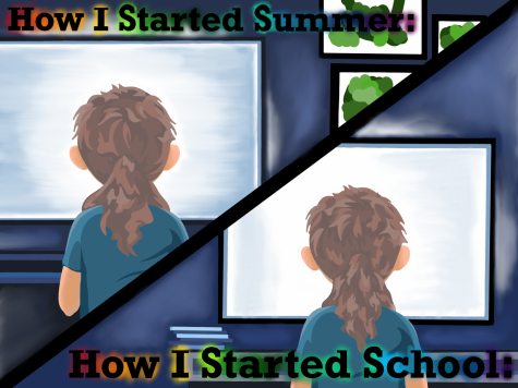 Illustrator Kaelyn Savard points out the similarities between how many students spent their summer break and how they just started school: staring at a computer screen.