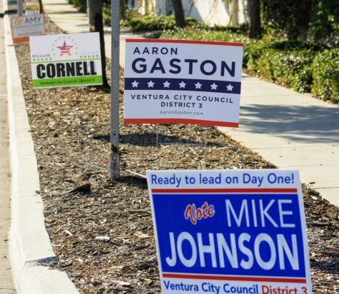 Signs placed around Ventura advertise people like Mike Johnson, Aaron Gaston and William Cornell who are running for Ventura City Council.