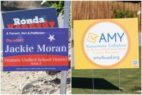 Competing Ventura Unified School Board candidates Jackie Moran and Amy Yamamoto Callahan campaign for votes with their signs around Ventura.