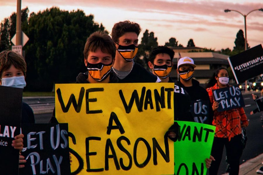 Ventura High School Athletes gather in protest for a season that was canceled in an effort to reduce COVID-19 spread.