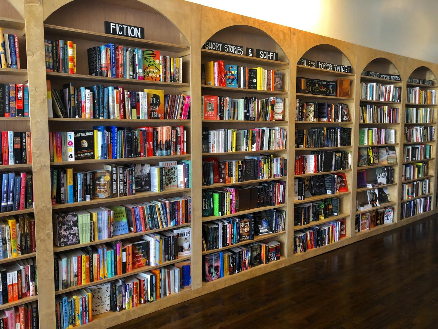 A wide variety of genres for every reader imaginable is displayed on original shelving at Timbre Books.