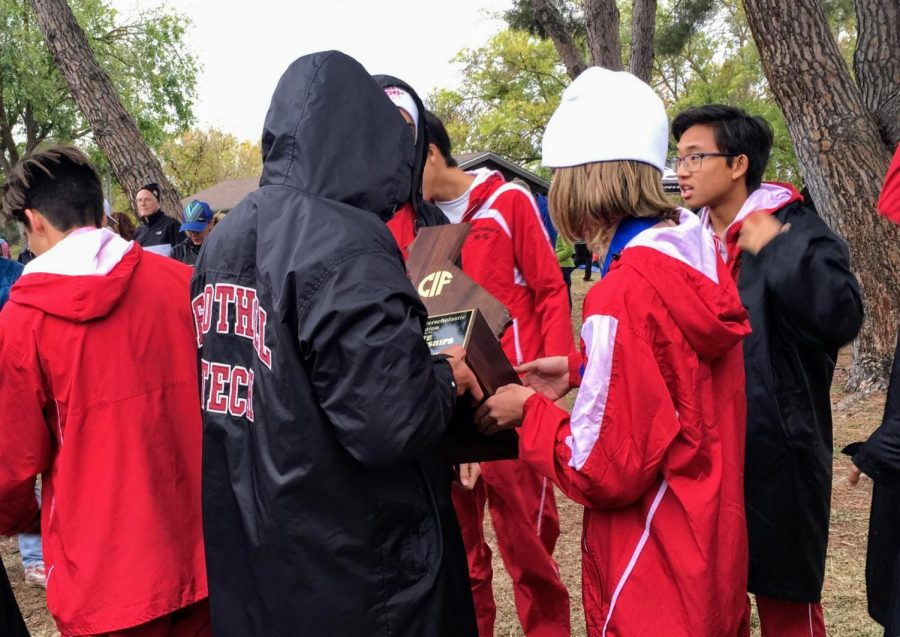 The Foothill Tech boys' cross country team celebrates their win at the 2019 CIF State championship, an event that will no longer take place in the 2020 season.