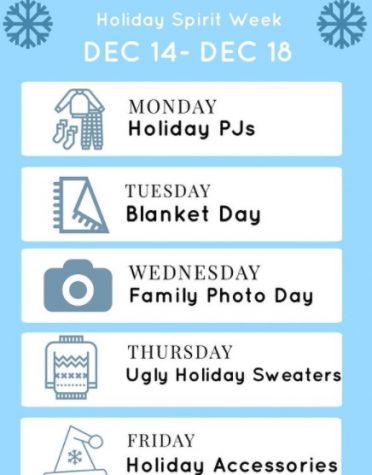 Foothill Tech ASB advertises week of Holiday Spirit.