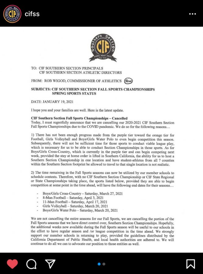 Southern Section CIF briefs its social media following on their decision to cancel 2020-21 Fall Sports Championships (Credit: @cifss on Instagram).