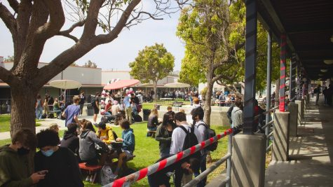 Foothill Tech students celebrate returning to in-person classes in the quad.