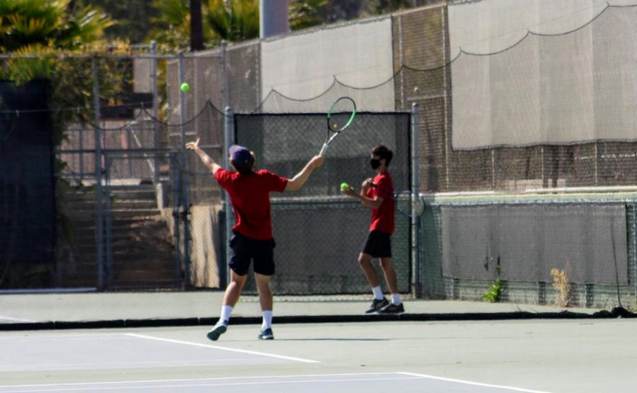 Members of the Foothill Tech boys tennis team focus on their matches.