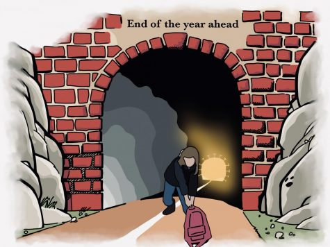 Cartoonist Kaelyn Savard believes that students need to have hope and see the light at the end of the tunnel as they continue pushing on to the end of school and beginning of summer.