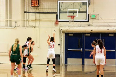 Olivia Huynh 23 concentrates while shooting free-throws.