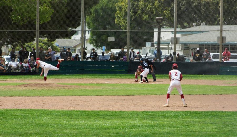 Starting pitcher Joey Bishop '21 delivers a fastball to a Buena batter.