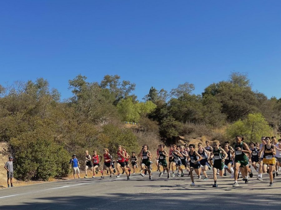 Runners rush by at the beginning of the boys' 3-mile race.