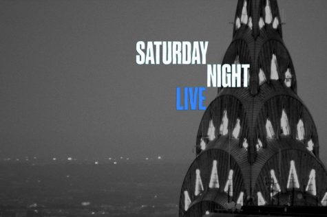 The SNL logo, reflecting the night life of New York City.