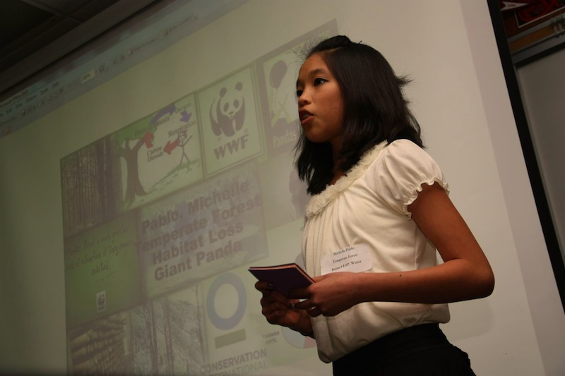Freshman Michelle Pablo gives her speech on temperate forests in Melissa Wantzs classroom. Credit: Aysen Tan/The Foothill Dragon Press.