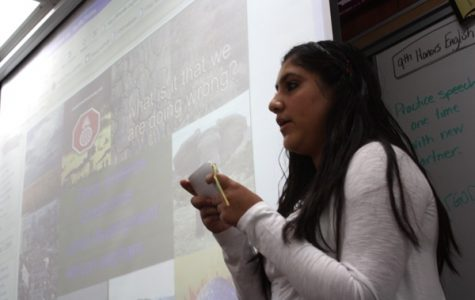 Daisy Landeros tackles her first major assignment, the 9th Grade Eco-Project, delivering her speech to a board of her peers on Monday the 13th. Photo CreditL Alison English/The Foothill Dragon Press.