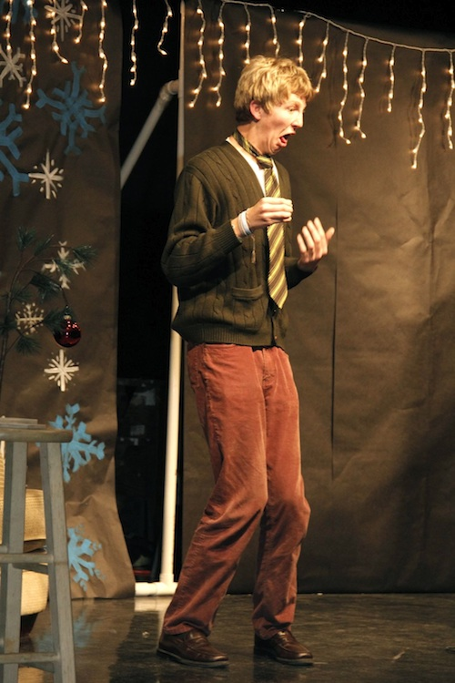 Senior Aron Egelko performs Wednesday during the Speech & Debate team's second annual Merry Fest. Credit: Bethany Fankhauser/The Foothill Dragon Press.
