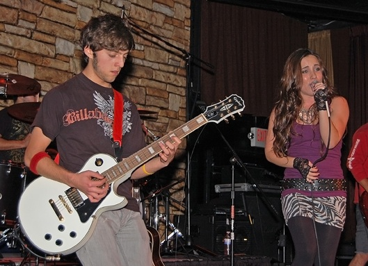 Sophomore Andre Sehati played guitar along with singer Britney Christian at Foothills Schools for Salone Benefit Concert Saturday. Credit: Alex Phelps/The Foothill Dragon Press.