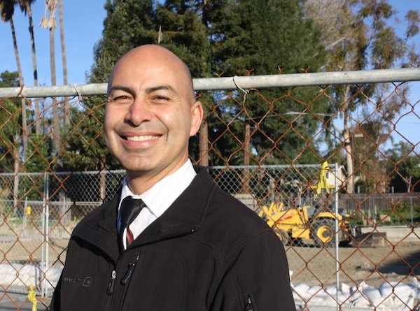 Carlos Cohen stands near the site of where the new Middle School Opportunity Program classroom will be built. Credit: Emma Huebner/The Foothill Dragon Press.