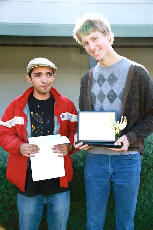 Seniors Kevin Kunes (left) and Aron Egelko placed first in public forum debate at a tournament in Carlsbad on Sunday. Credit: Bethany Fankhauser/The Foothill Dragon Press.
