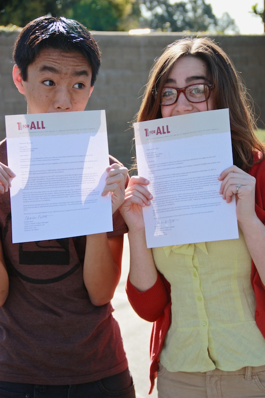 Sophomore Aysen Tan and junior Molly Roberts each won a $5,000 scholarship for their projects about the First Amendment. Credit: Bethany Fankhauser/The Foothill Dragon Press